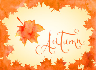 Watercolor maple leaves frame and Autumn word