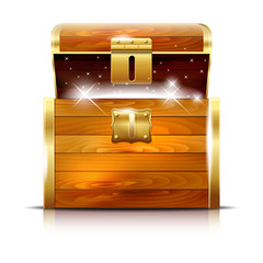 Wooden chest with glowing treasure on white background