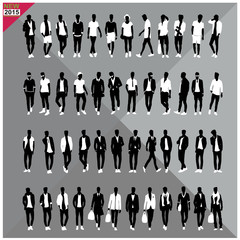 Set of 48 Men black silhouettes with white cloths on top,totally editable,collection