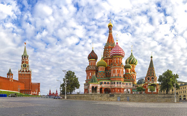 Moscow Kremlin, Spasskaya Tower  and St. Basil Cathedral. Red Square. Russia
