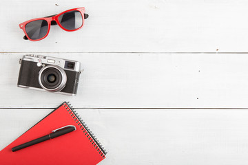 set of cool photography stuff on wooden background