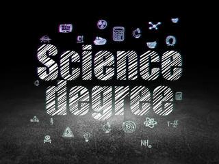 Science concept: Science Degree in grunge dark room