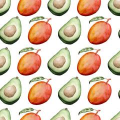 avocado and mango seamless pattern