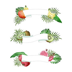 Vector light ribbon banners with watercolor hand drawn tropical fruits and leaves. Background for food packaging, cards and posters