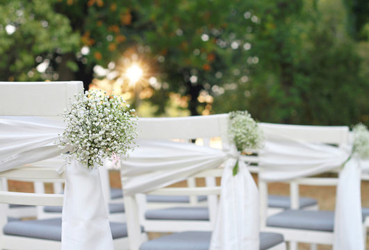 White flowers, Rustic Chic outdoor chair  Autumn wedding decoration