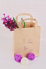 Gift bag with flowers and words I love you