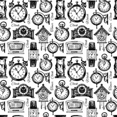 Hand drawn clocks and watches seamless pattern