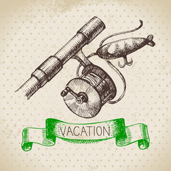 Vintage hand drawn sketch family vacation background