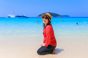 Asia woman in Tropical beach, Similan Island, Koh Ta Chai, Andaman Sea, Thailand