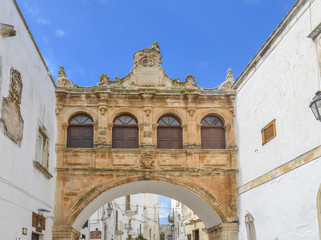 Facade of building in Ostuni, Puglia, Italy