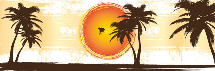 Tropische Urlaubsinsel mit Palmen | Retro