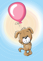 Puppy with balloon