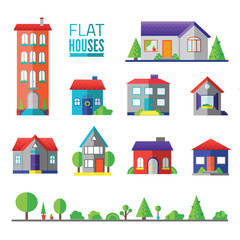 flat houses isolated icons,