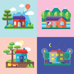 Color vector flat icon set and illustrations