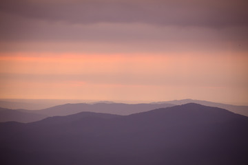 Sunset view across the Appalachian Mountains