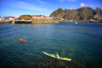 Kayaking at Lofoten islands, Henningsvaer, Norway