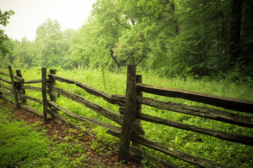 Rustic wooden fence along countryside with greenery