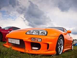 Modified Orange Toyota Supra With Powerful Engine, Autoshow
