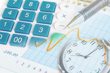 image of financial report with pen clock and calculator.
