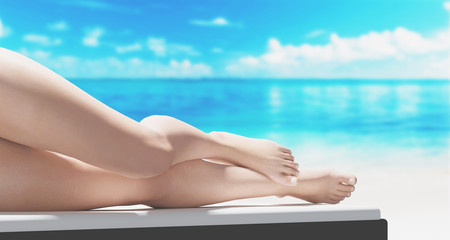 Vacanze spiaggia gambe di donna