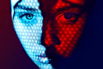 Women face art graphic color lights