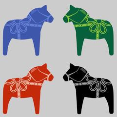 Four Swedish Dala Horses