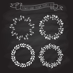 vector illustration of hand drawn flower and floral wreaths in f