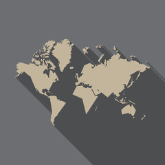 World map, polygon flat design with long shadow, illustration, v