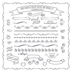 vector illustration of hand drawn decorative brushes, elements a
