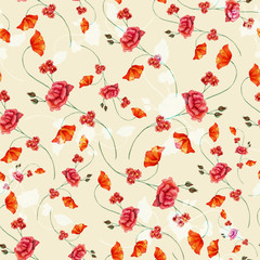 Vintage style watercolour rose seamless pattern