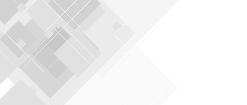 Abstract grey tech vector banner with squares