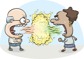 A cartoon man and woman argue and battle one another to a standoff with clouds of toxic bad breath.