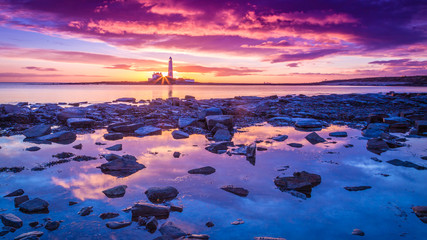 Sunrise on the Northumberland coast, England