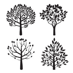 Set of Black Tree. Vector Illustration.