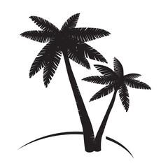 Black Palms Tree. Vector Illustration.
