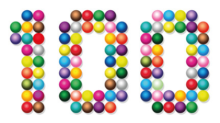 HUNDRED - composed of exactly one hundred colorful balls - isolated vector illustration on white background.