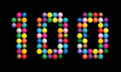 Number 100 consisting of exactly one hundred colorful particles such as marbles, beads or balls - vector illustration on black background.