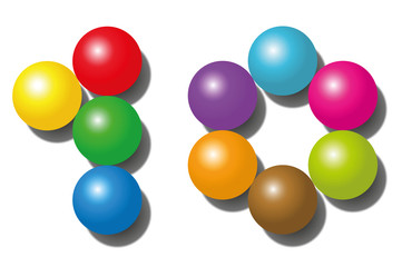 TEN - composed of exactly ten colorful balls - isolated vector illustration on white background.