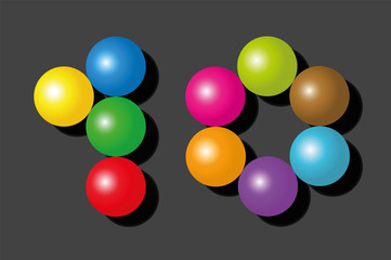 Number 10 consisting of exactly ten colorful items such as marbles, beads or balls - vector illustration on black background.