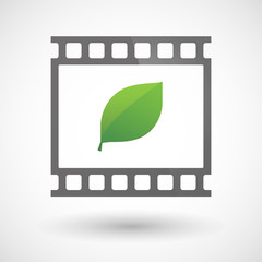 Photographic film icon with a leaf