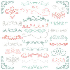 Vector Colorful Doodle Hand Drawn Swirls Collection
