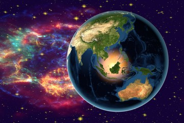 Planet Earth on the background with stars and galaxies, the Earth from space showing Indonesia, Australia, India and Malaysia on globe in the night time, elements of this image furnished by NASA