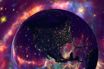The Earth from space showing North America USA, Canada, Mexico on globe in the night time, galaxies are reflected in water, elements of this image furnished by NASA