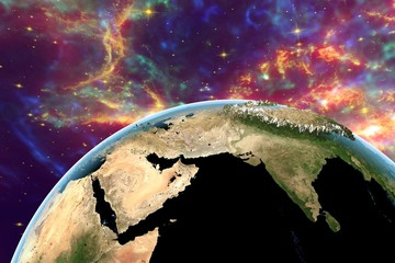 Planet Earth on background with stars and galaxies, the Earth from space showing India, Himalayas, Arabian peninsula on globe in day, with enhanced bump, elements of this image furnished by NASA
