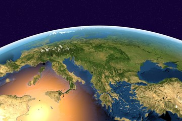 Planet Earth on background with stars, Earth from space showing Southern Europe, Mediterranean sea, Italy, Greece on globe in the day time, with enhanced bump, elements of this image furnished by NASA
