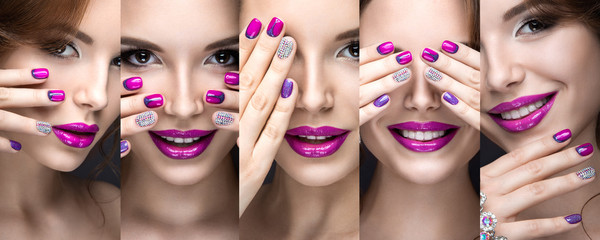Beautiful girl with a bright evening make-up and pink manicure