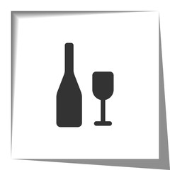 Wine icon with cut out shadow effect