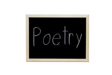 Poetry written with white chalk on blackboard.