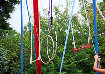 Rings, swings and ropes in a park