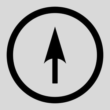 Arrow Axis Y flat black color rounded vector icon